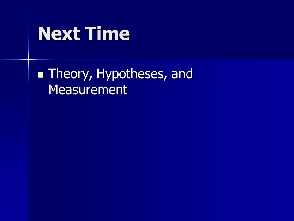 Next Time Theory, Hypotheses, and Measurement