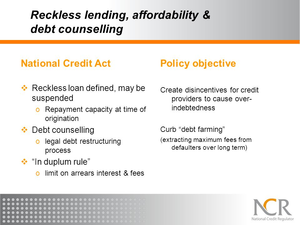 Reckless lending, affordability & debt counselling