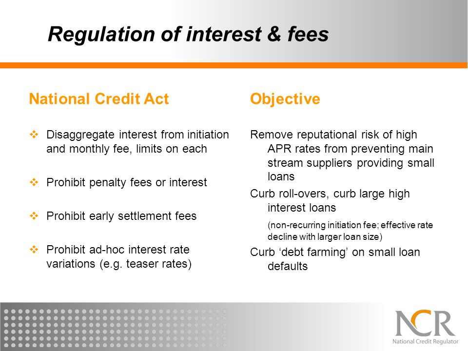 Regulation of interest & fees