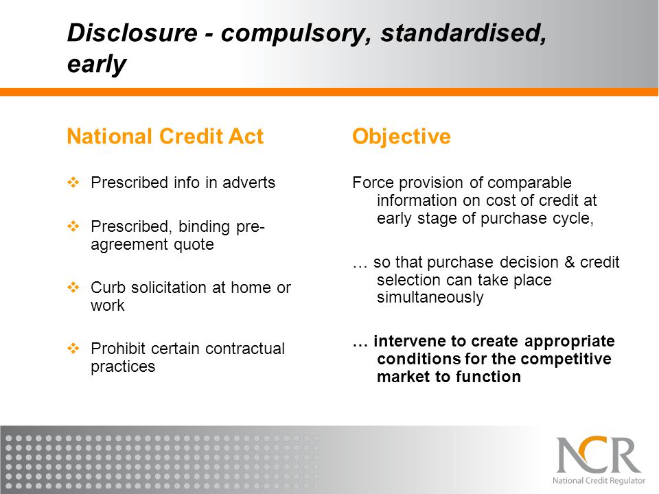 Disclosure - compulsory, standardised, early