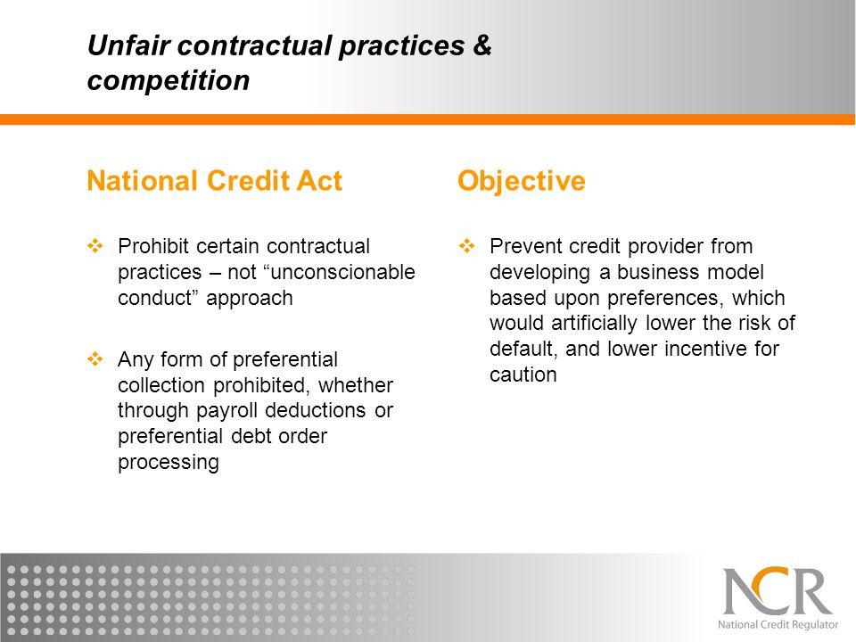 Unfair contractual practices & competition