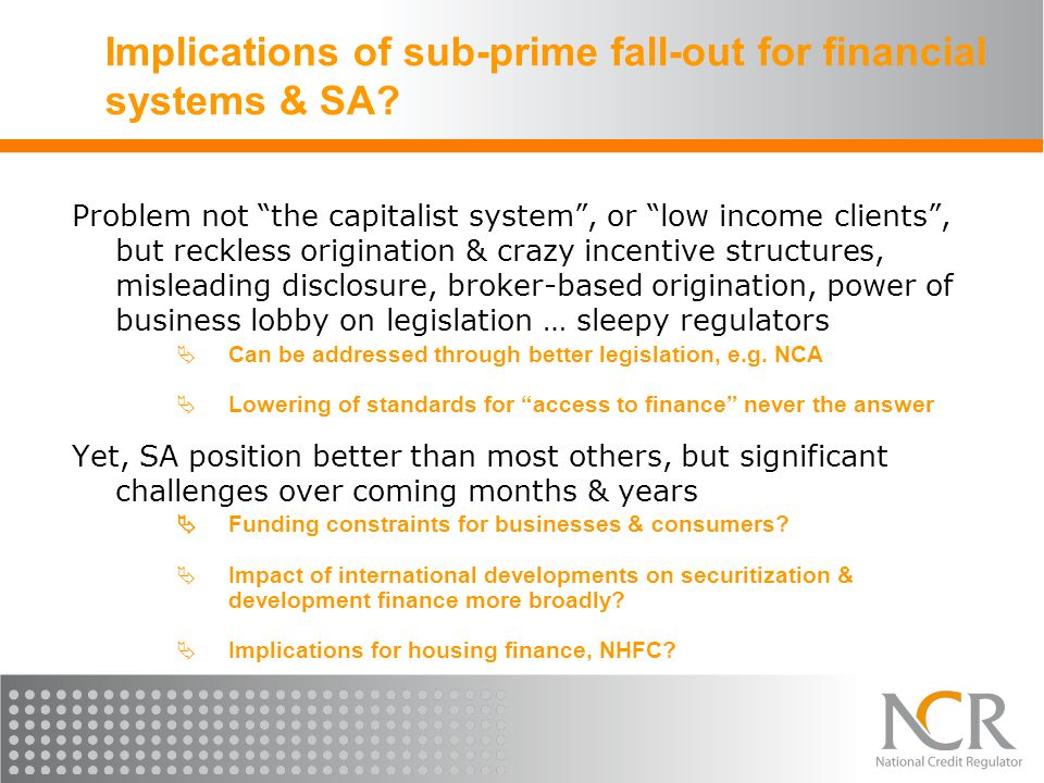 Implications of sub-prime fall-out for financial systems & SA