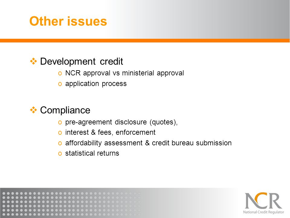 Other issues Development credit Compliance
