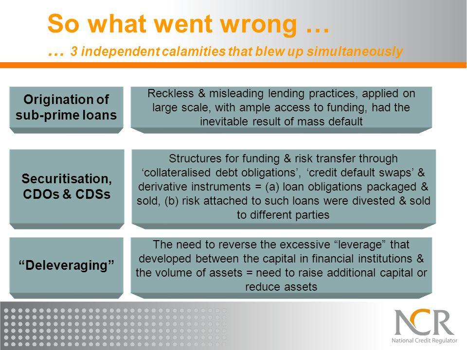 Origination of sub-prime loans Securitisation, CDOs & CDSs