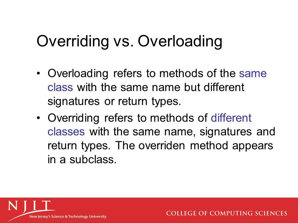 Overriding vs. Overloading