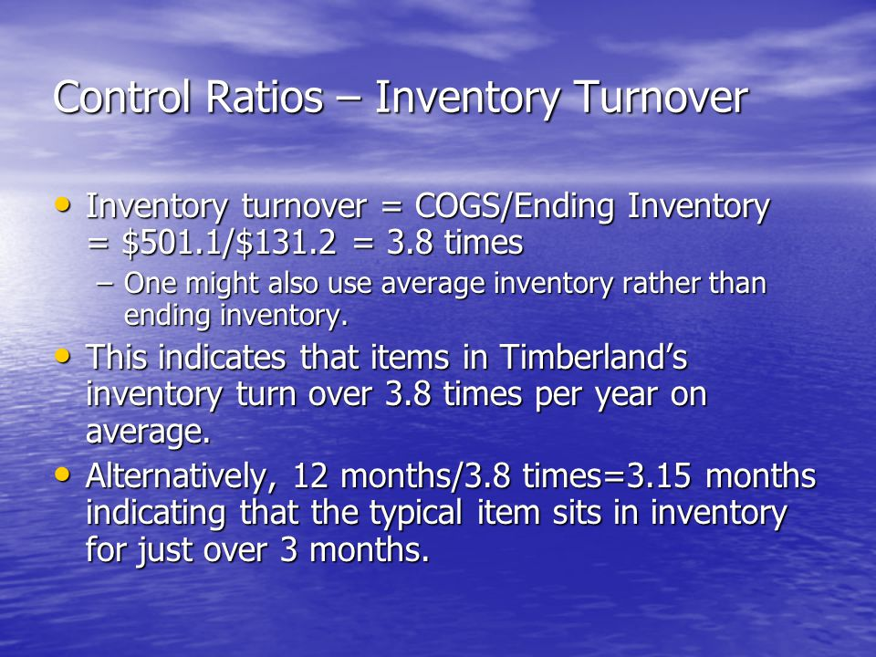 Control Ratios – Inventory Turnover