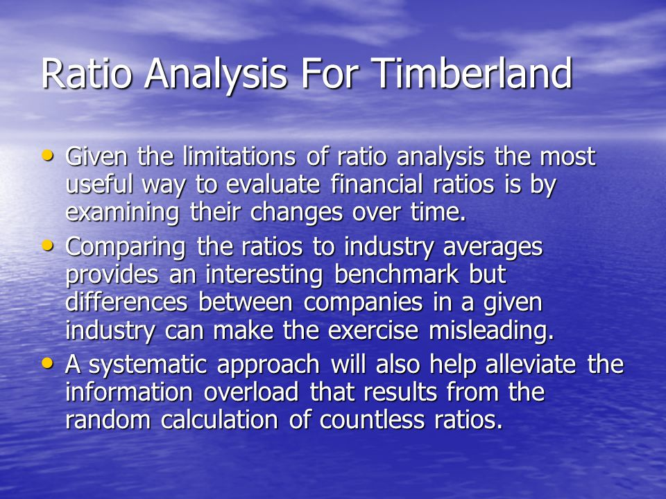 Ratio Analysis For Timberland