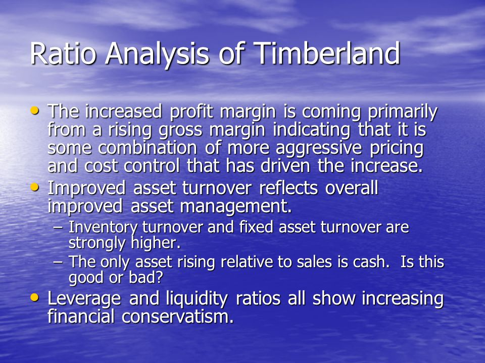 Ratio Analysis of Timberland