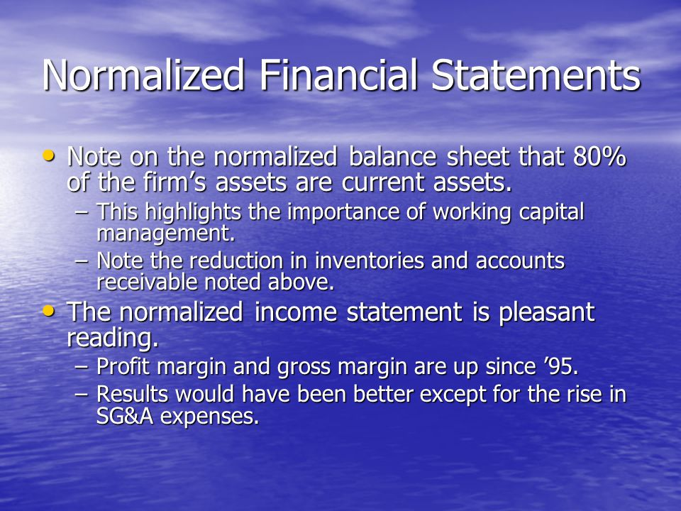 Normalized Financial Statements