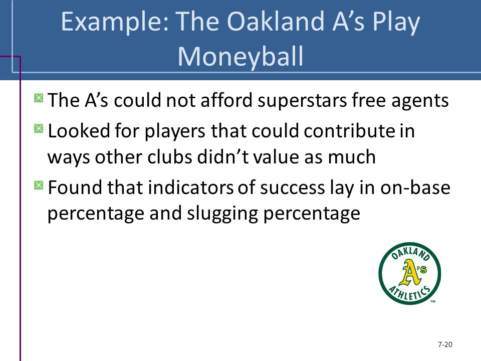 Example: The Oakland A's Play Moneyball