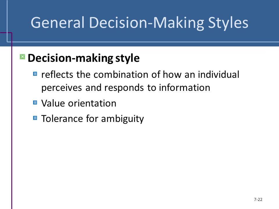 General Decision-Making Styles
