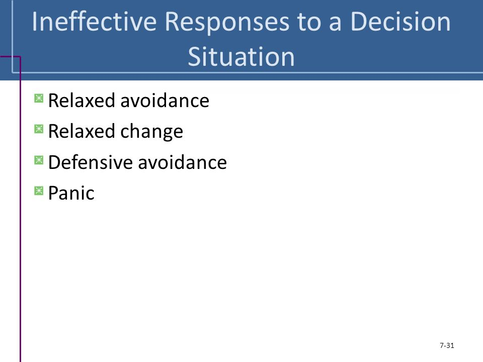 Ineffective Responses to a Decision Situation