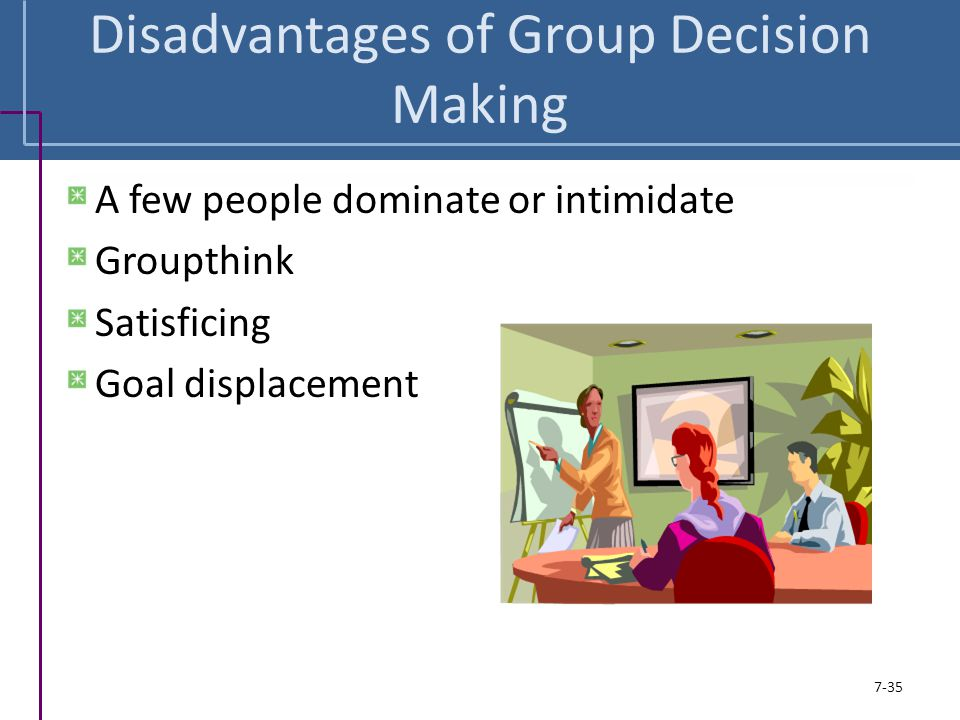 Disadvantages of Group Decision Making
