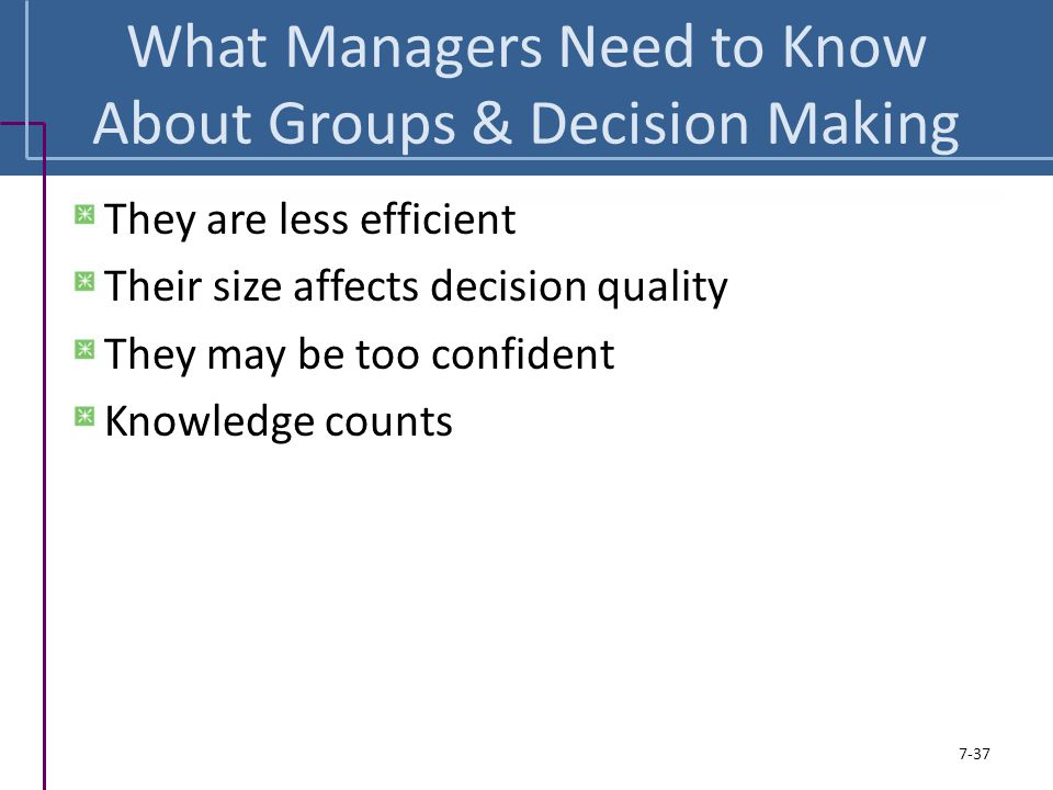 What Managers Need to Know About Groups & Decision Making