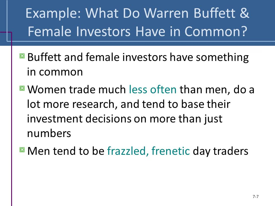 Example: What Do Warren Buffett & Female Investors Have in Common