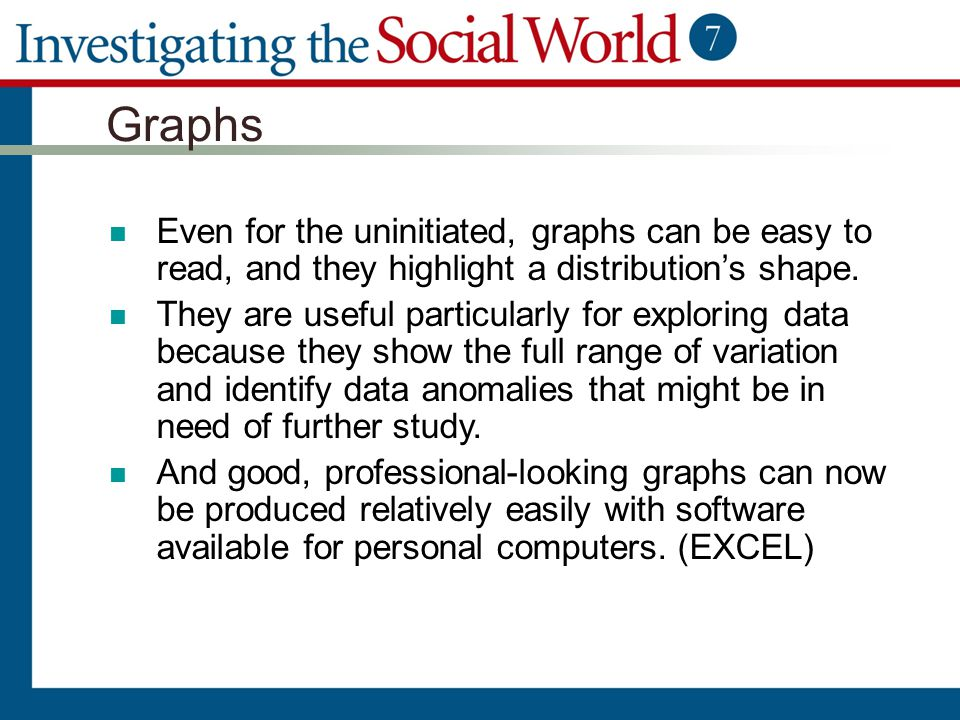 Graphs Even for the uninitiated, graphs can be easy to read, and they highlight a distribution's shape.