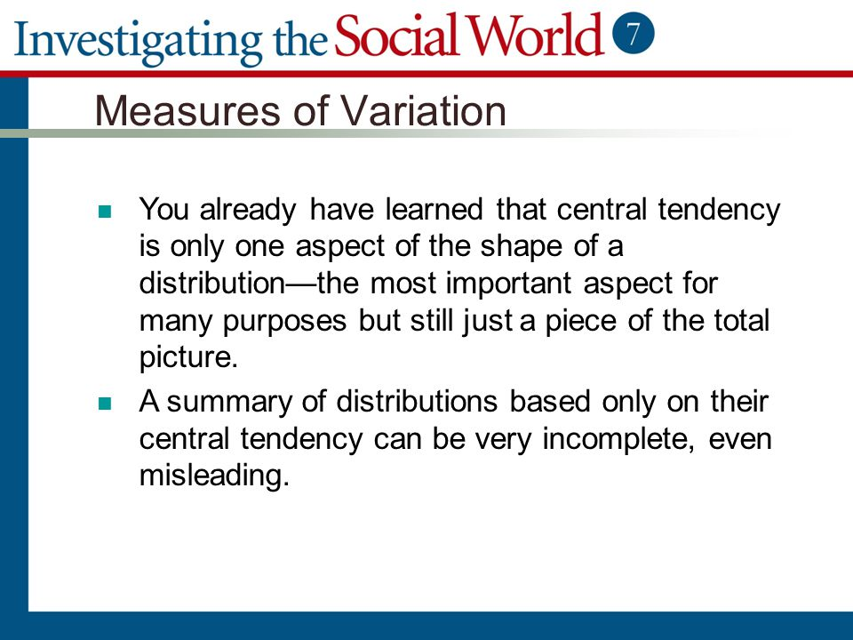 what are measures of central tendency variation and relationship