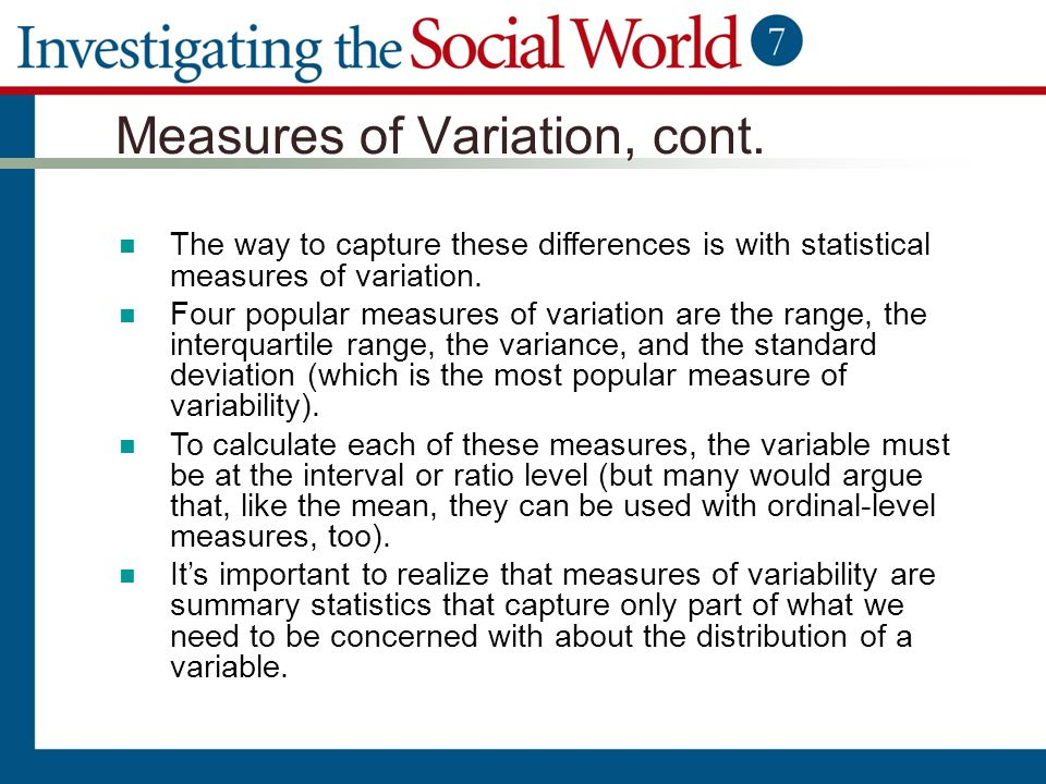 Measures of Variation, cont.