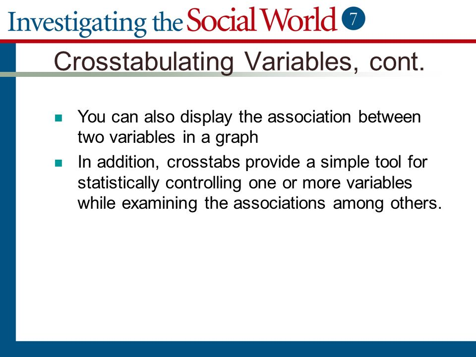 Crosstabulating Variables, cont.