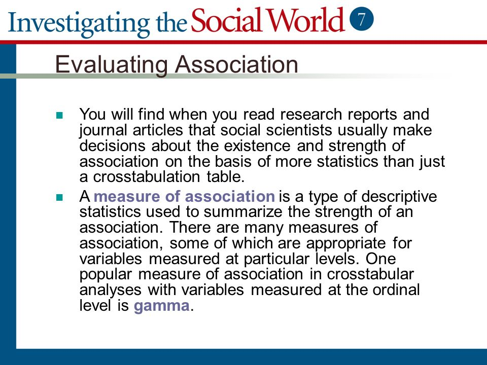 Evaluating Association