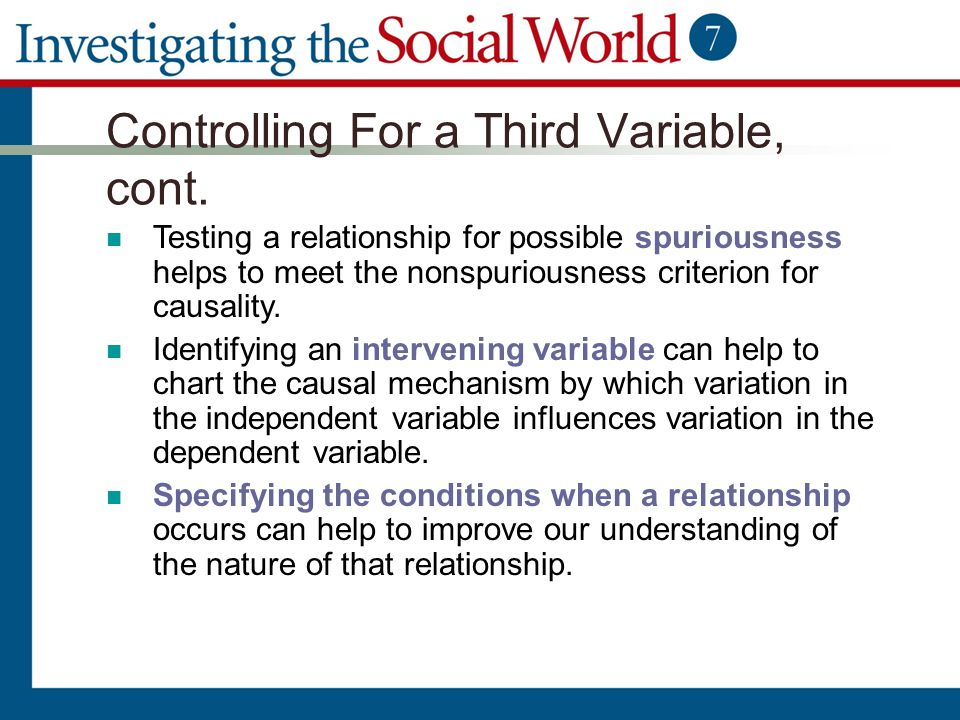 Controlling For a Third Variable, cont.