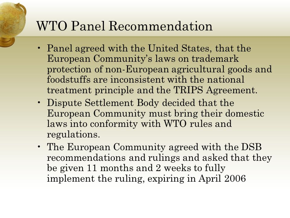WTO Panel Recommendation