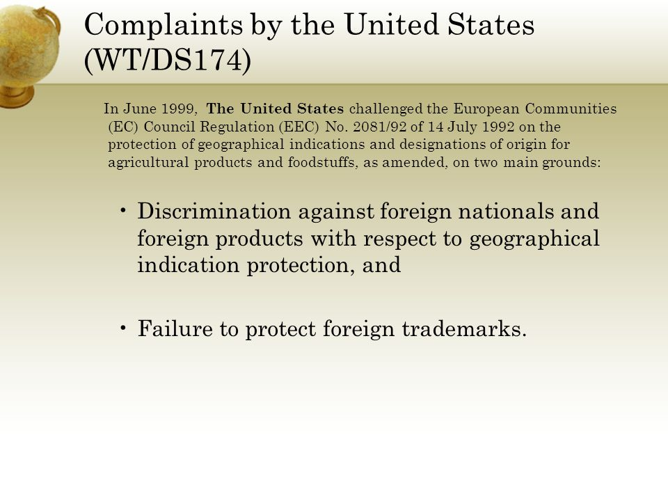 Complaints by the United States (WT/DS174)