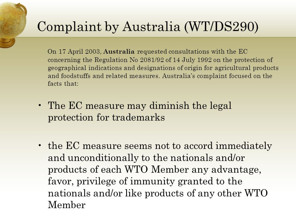 Complaint by Australia (WT/DS290)