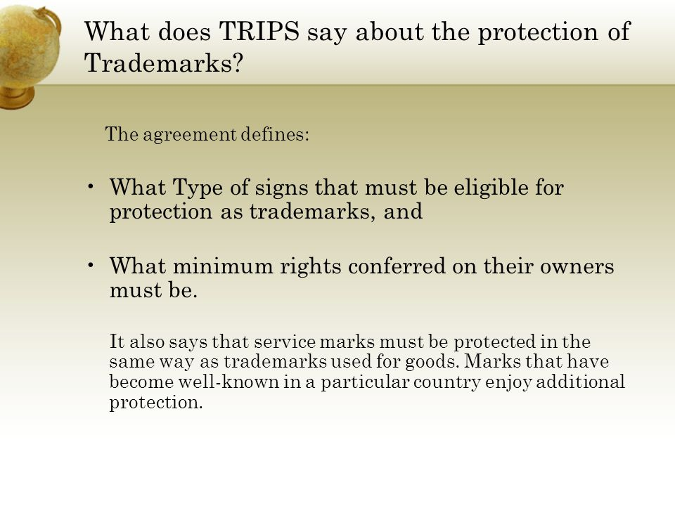 What does TRIPS say about the protection of Trademarks