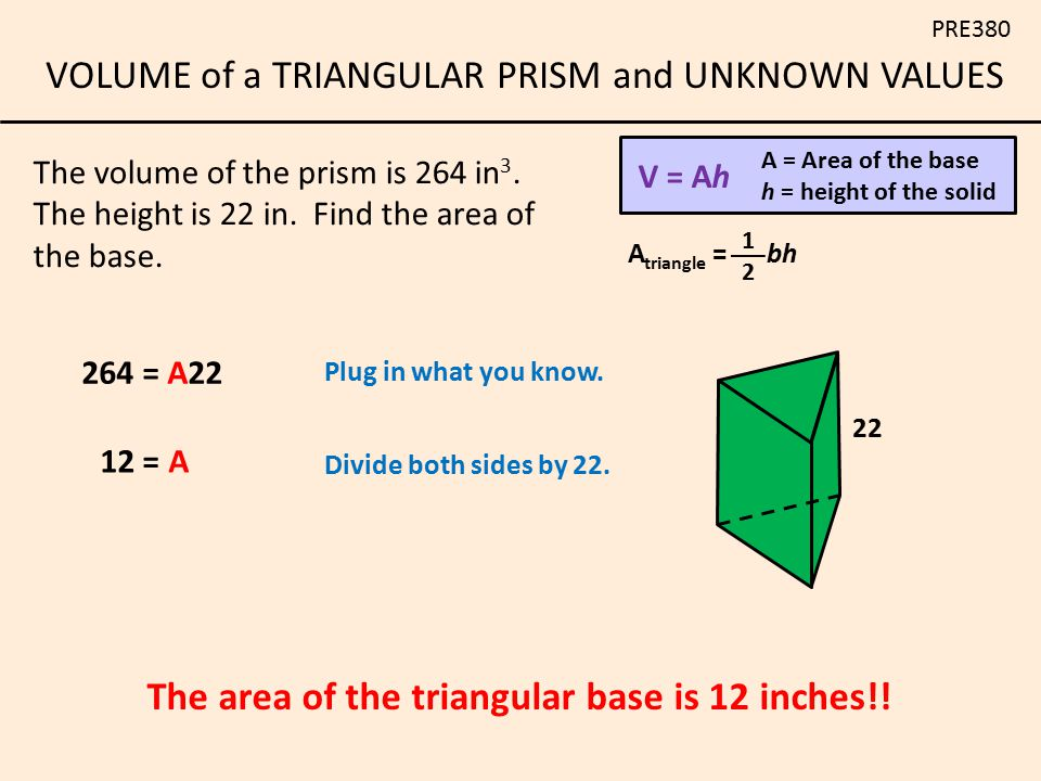 The area of the triangular base is 12 inches!!