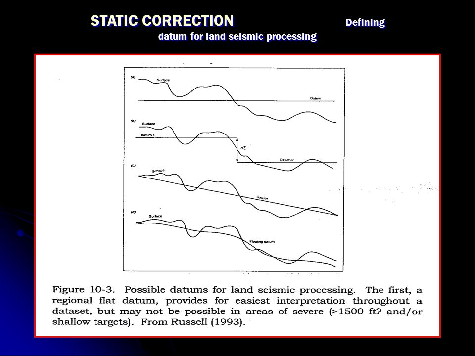STATIC CORRECTION Defining datum for land seismic processing