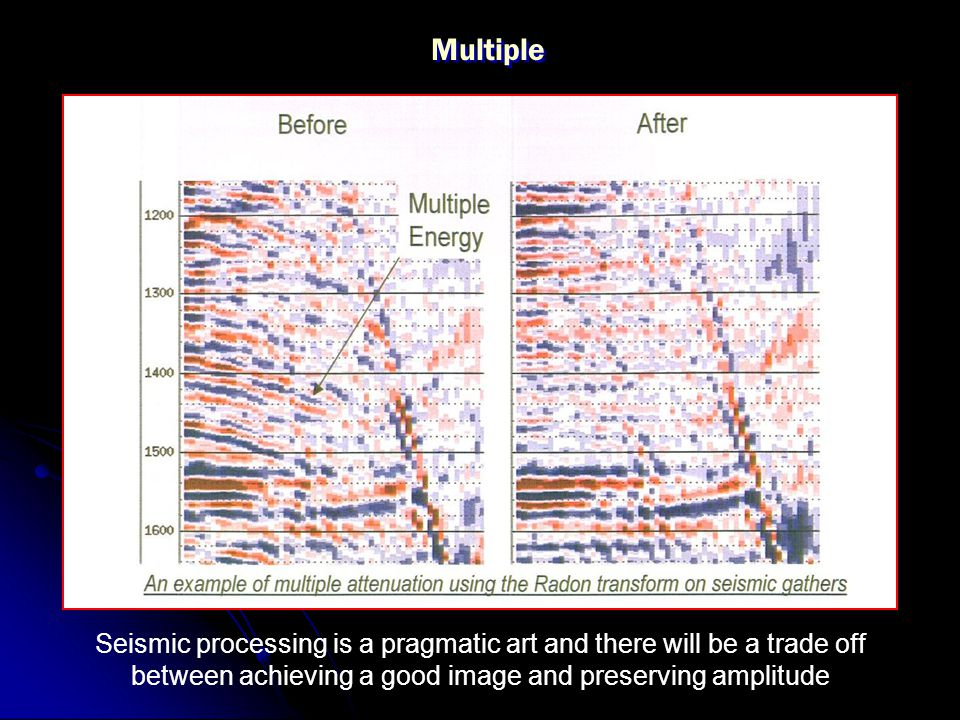 Multiple Seismic processing is a pragmatic art and there will be a trade off between achieving a good image and preserving amplitude.
