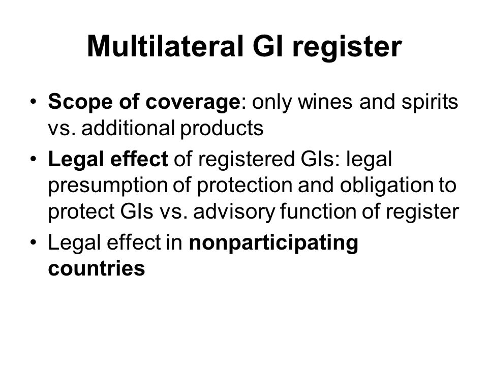 Multilateral GI register