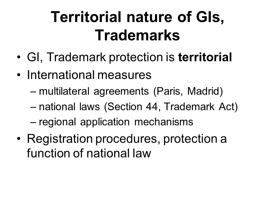 Territorial nature of GIs, Trademarks