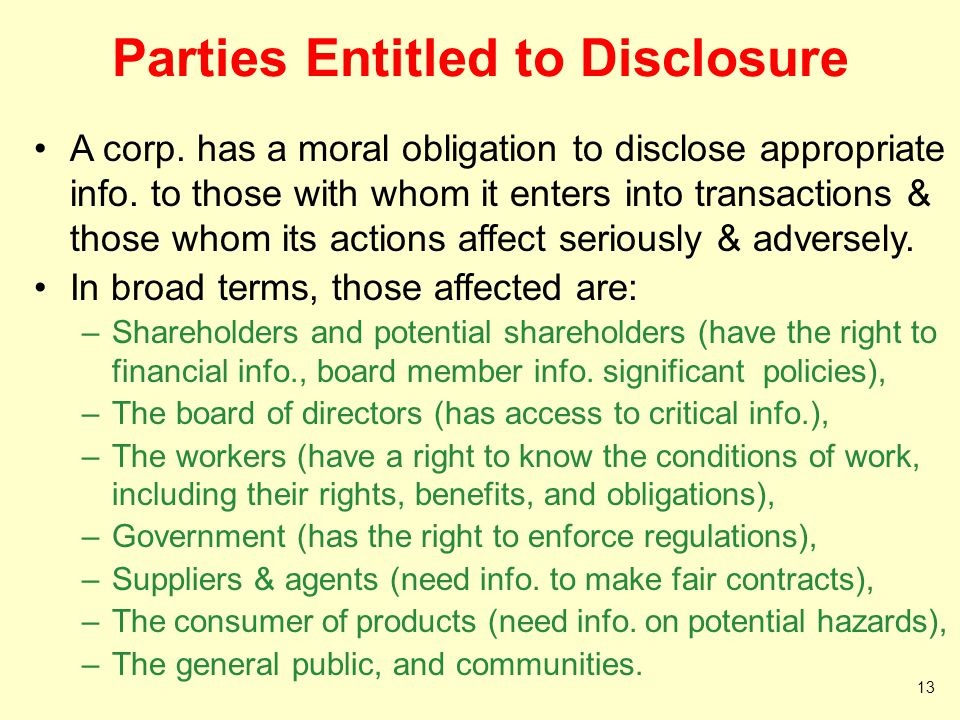 Parties Entitled to Disclosure