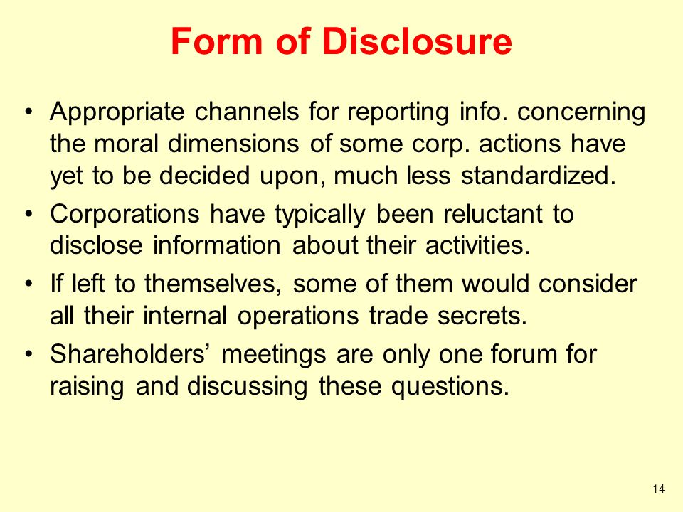 Form of Disclosure