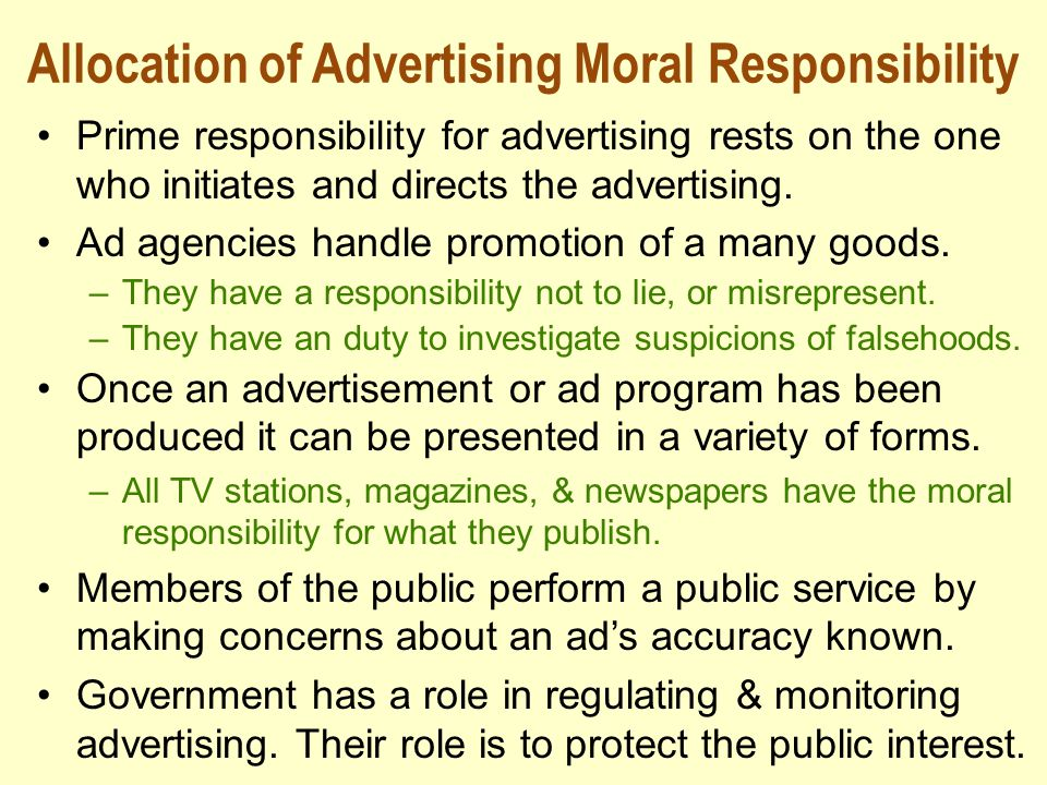 Allocation of Advertising Moral Responsibility