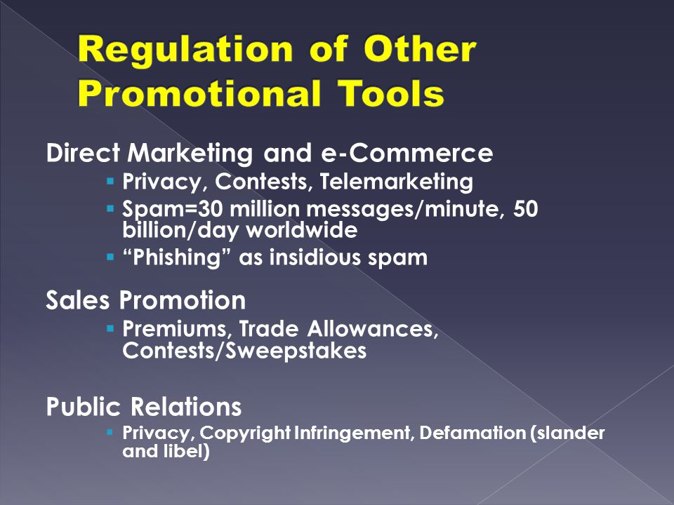 Regulation of Other Promotional Tools