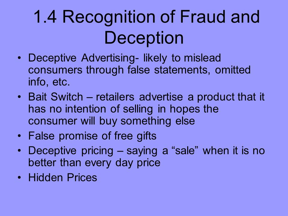 1.4 Recognition of Fraud and Deception