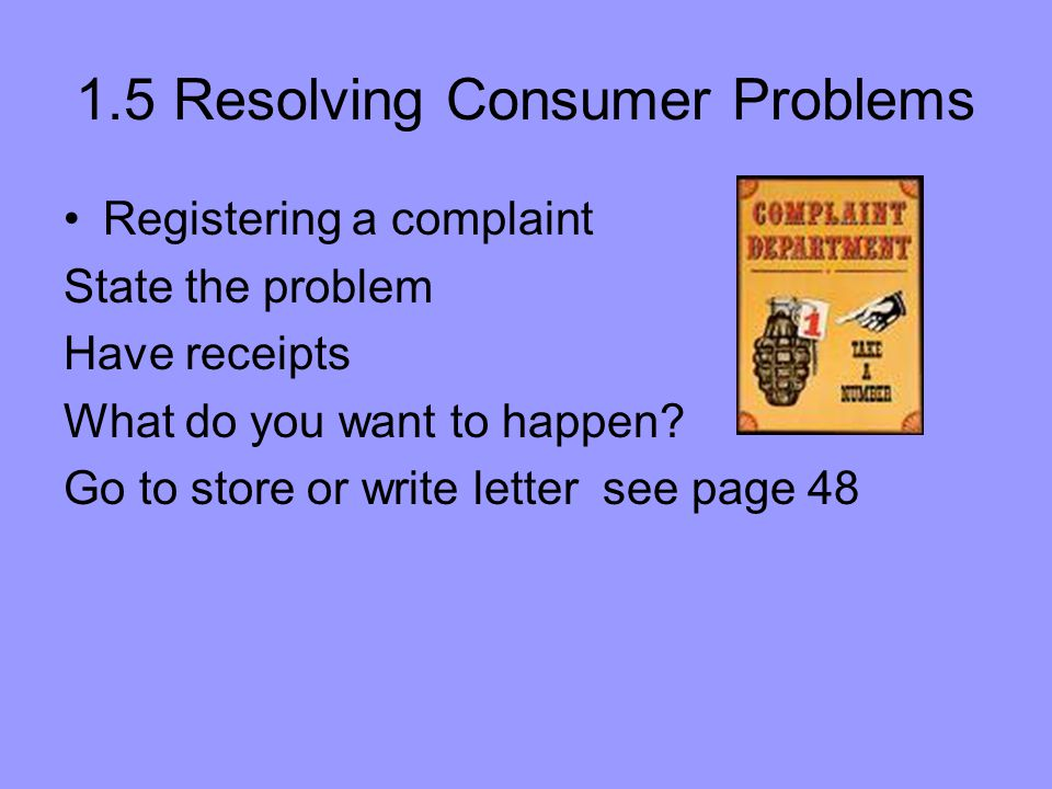 1.5 Resolving Consumer Problems