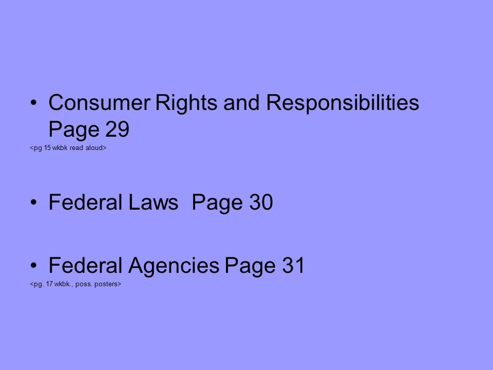Consumer Rights and Responsibilities Page 29