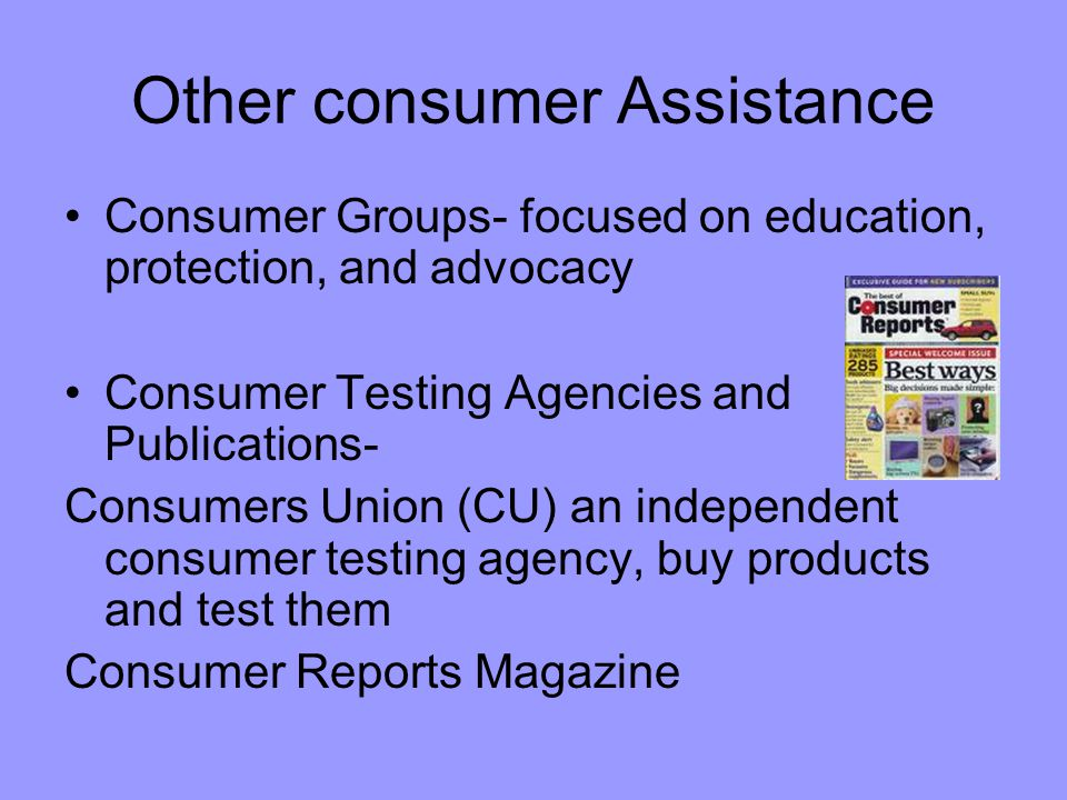 Other consumer Assistance