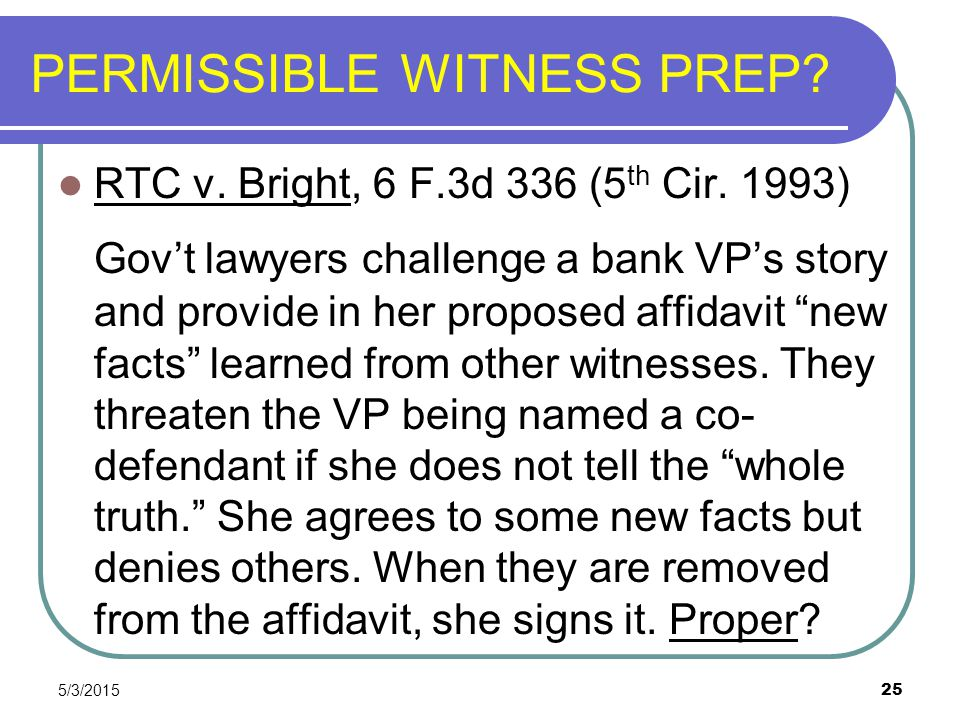 PERMISSIBLE WITNESS PREP
