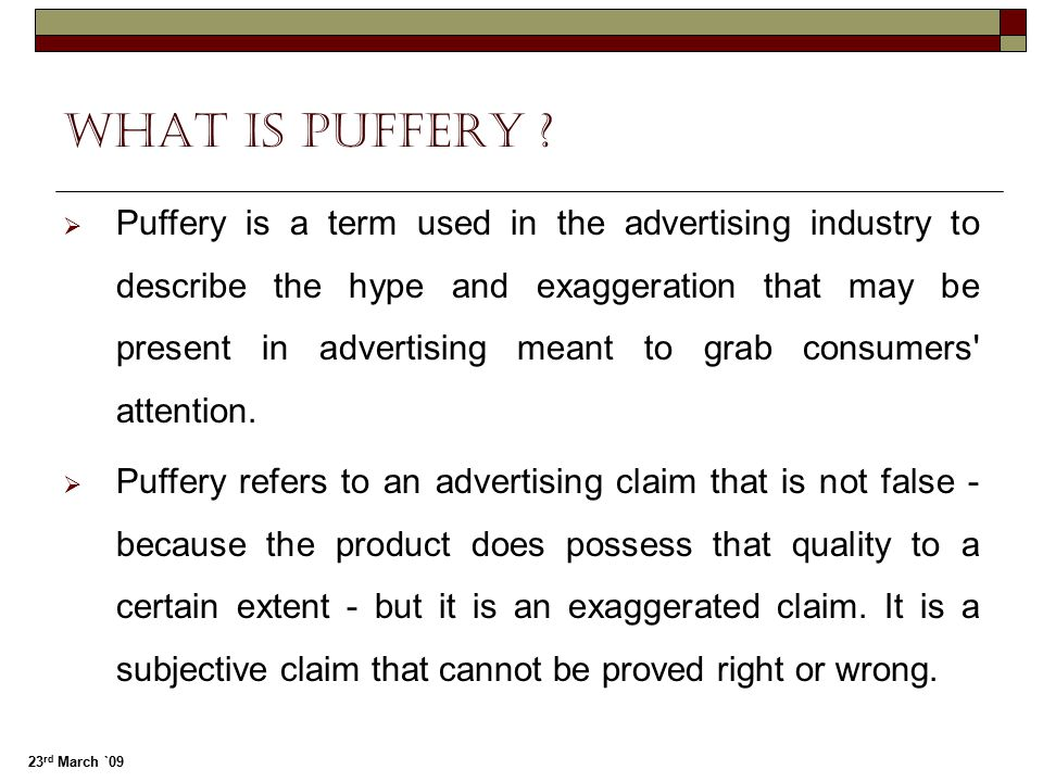 What is puffery