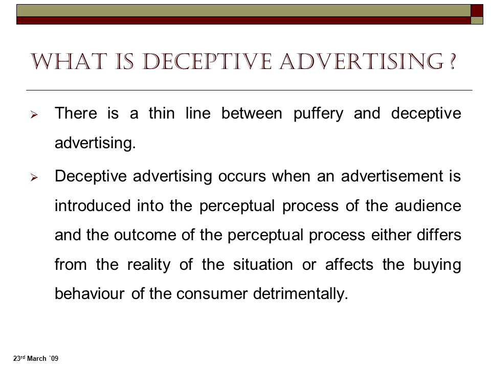 What is Deceptive advertising