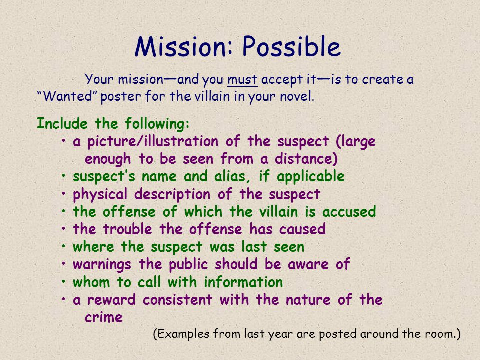 Mission: Possible Include the following: