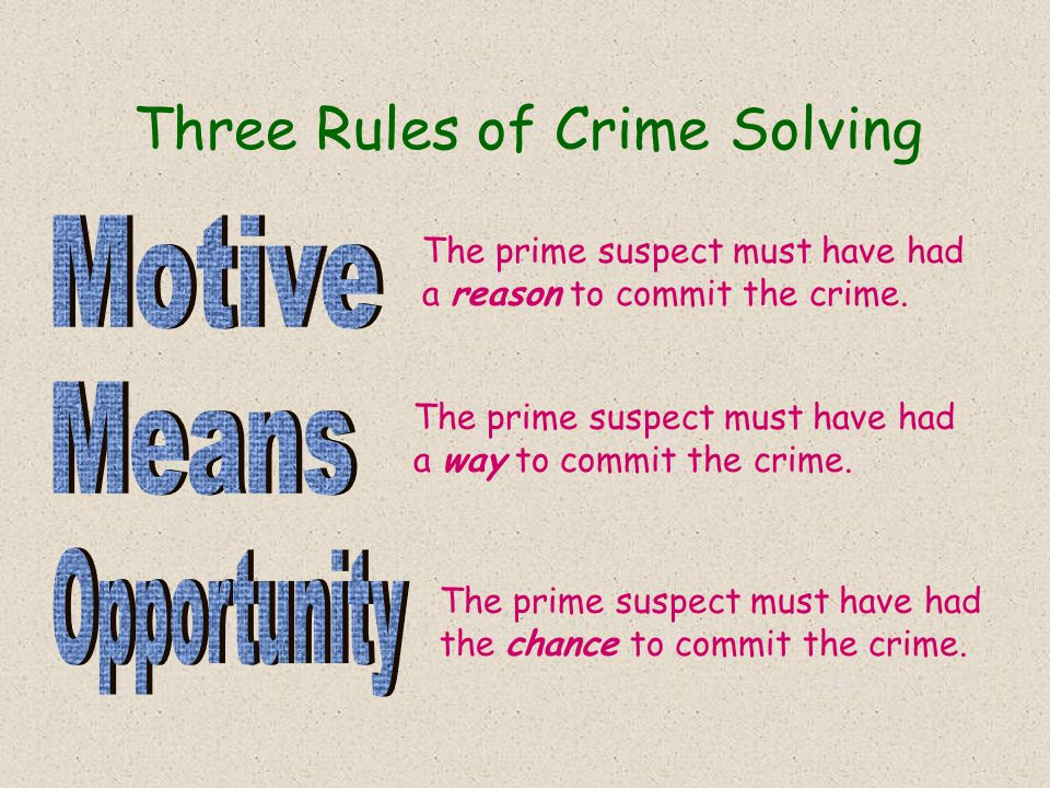 Three Rules of Crime Solving