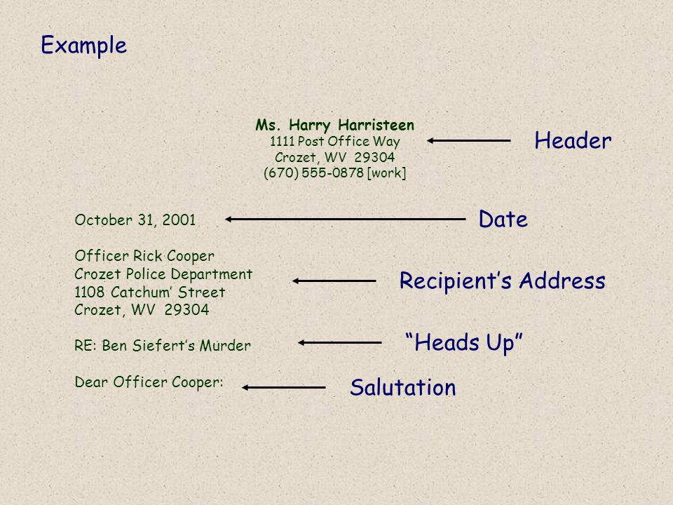 Example Header Date Recipient's Address Heads Up Salutation