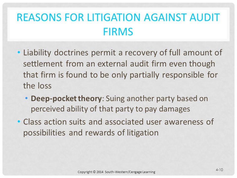 Reasons for Litigation against Audit Firms