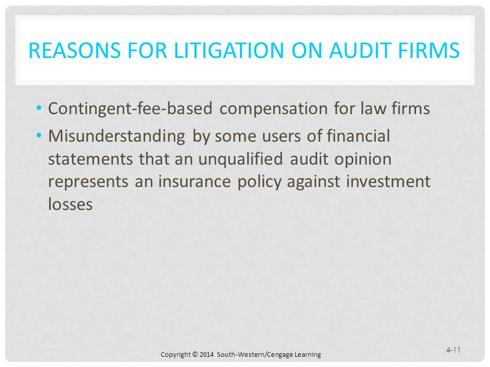 Reasons for Litigation on Audit Firms